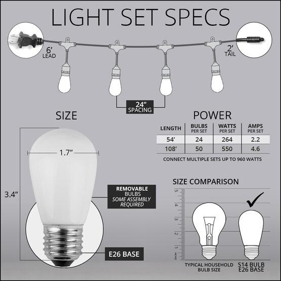 54' Outdoor Patio Light String, 24 White S14 Bulbs