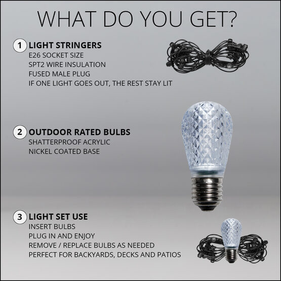 54' Outdoor Patio Light String, 24 Cool White S14 LED Bulbs
