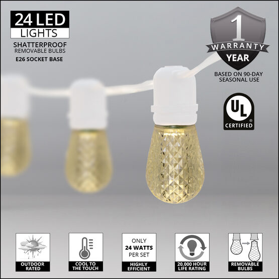 54' Outdoor Patio Light String, 24 Warm White S14 LED Bulbs