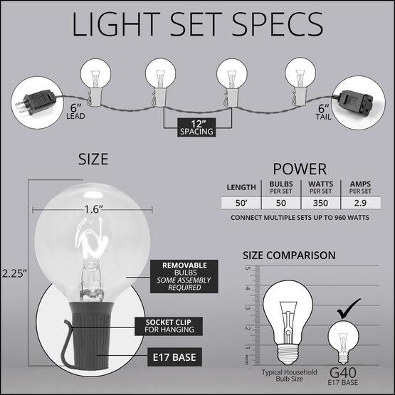 50' Globe String Lights, 50 Clear G40 Bulbs