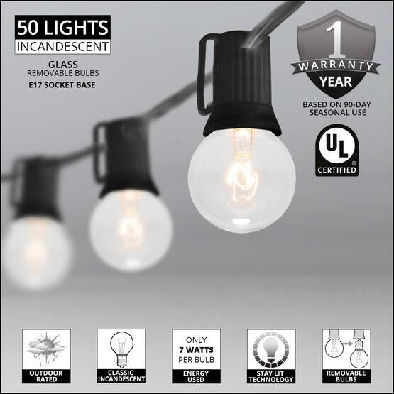 100' Globe String Lights, 50 Clear G40 Bulbs
