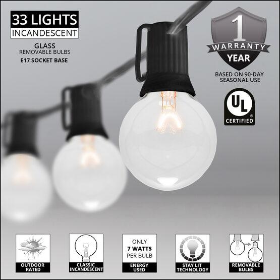 50' Globe String Lights, 33 Clear G50 Bulbs