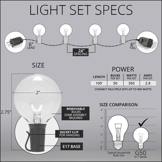 100' Globe String Lights, 50 Clear G50 Bulbs