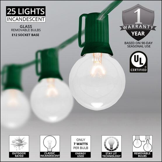 25' Globe String Lights, 25 Clear G50 Bulbs