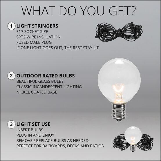 100' Outdoor Patio Light String, 75 Clear G50 Bulbs