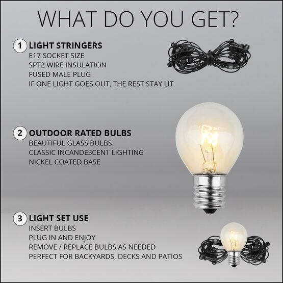 100' Outdoor Patio Light String, 75 Clear S11 Bulbs