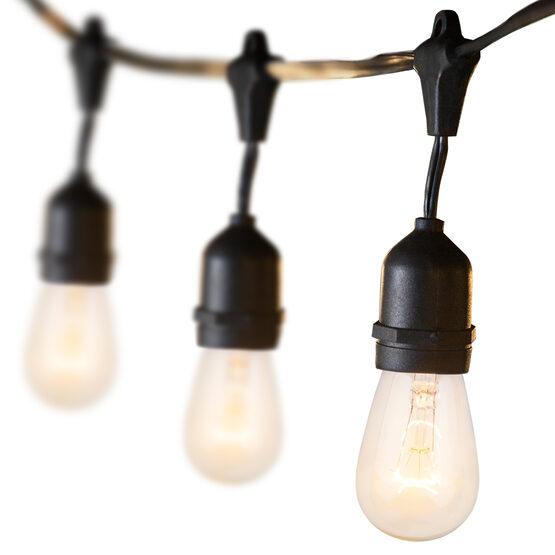 54' Outdoor Patio Light String, 24 Clear S14 Bulbs