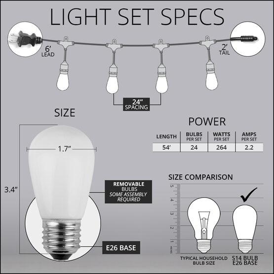 54' Outdoor Patio Light String, 24 Multicolor S14 Bulbs