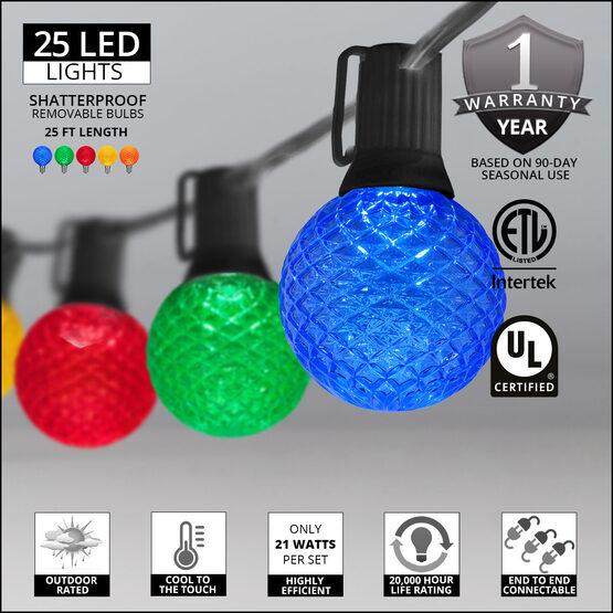 25' Globe String Light Set, 25 Multicolor G50 OptiCore LED Bulbs