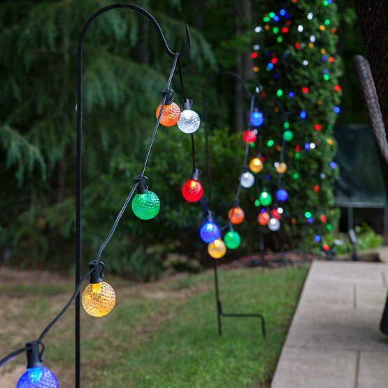 37' Globe String Light Set, 25 Multicolor G50 OptiCore LED Bulbs, Black Wire