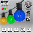 37' Patio String Light Set, 25 Multicolor G50 FlexFilament LED Acrylic Bulbs, Black Wire