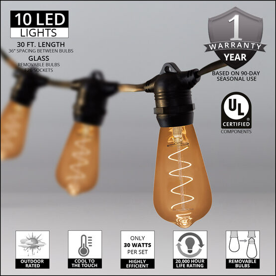30' Commercial Patio String Light Set, 10 Warm White ST64 FlexFilament LED Glass Bulbs, Black Wire