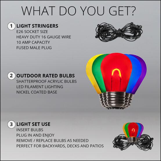 30' Commercial Patio String Light Set, 10 Multicolor S14 FlexFilament LED Acrylic Bulbs, Black Wire