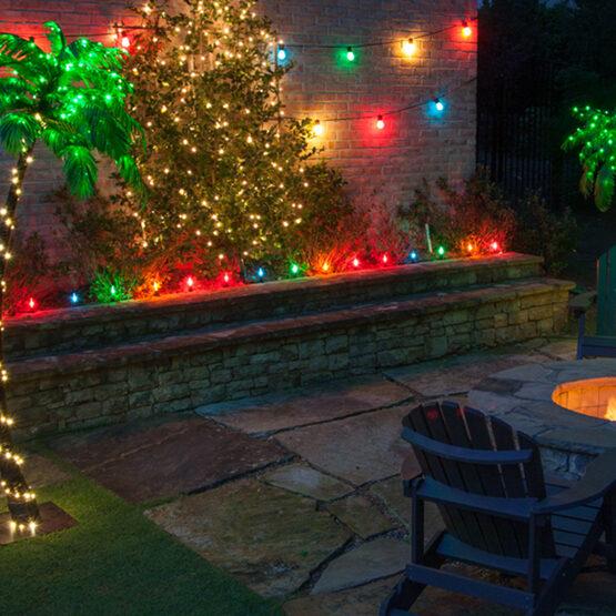 30' Commercial Patio String Light Set, 10 Multicolor S14 FlexFilament LED Glass Bulbs, Black Wire