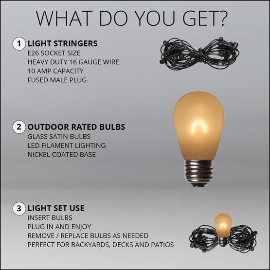 30' Commercial Patio String Light Set, 10 Warm White S14 FlexFilament LED Satin Glass Bulbs, Black Wire