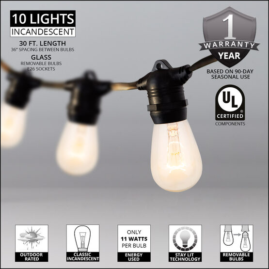30' Commercial Patio String Light Set, 10 Clear S14 Bulbs, Black Wire
