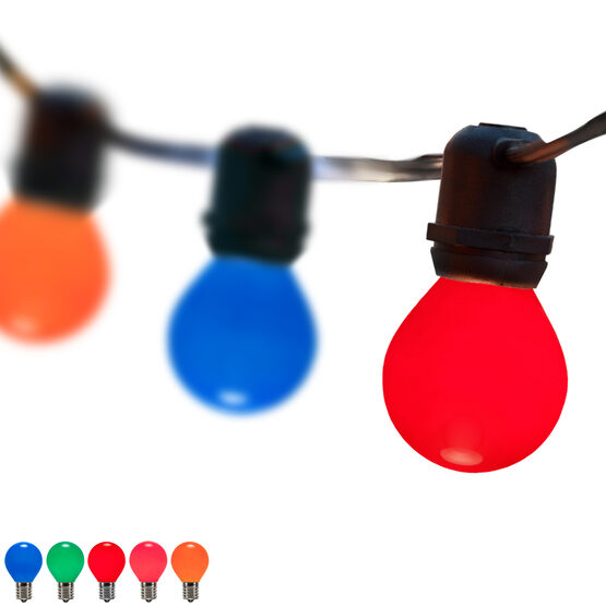 100' Outdoor Patio Light String, 75 Multicolor S11 Bulbs