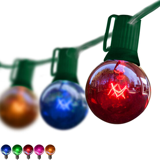 Globe String Lights, Multicolor G50 Bulbs, Green Wire