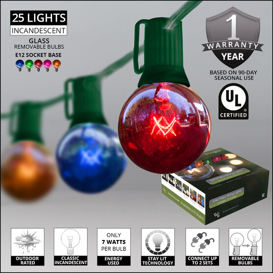 Globe String Lights, Multicolor G40 Bulbs, Green Wire