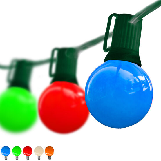 Globe String Lights, Opaque Multicolor G40 Bulbs, Green Wire