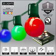 Globe String Lights, Opaque Multicolor G50 Bulbs, Green Wire
