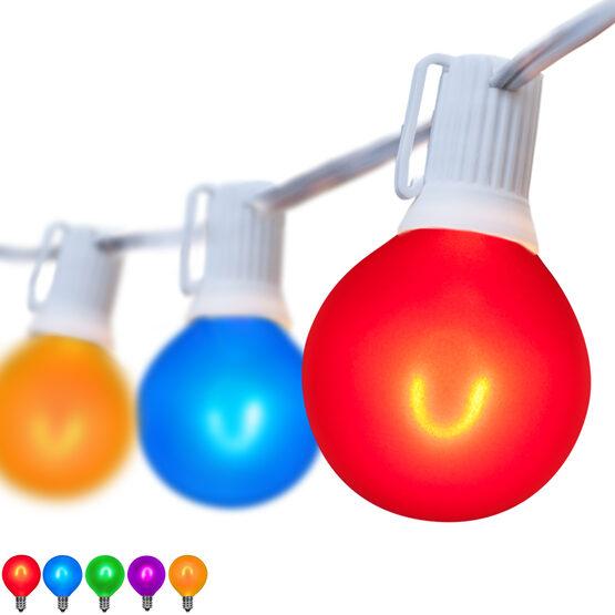 10' Patio String Light Set, 10 Multicolor G50 FlexFilament LED Satin Glass Bulbs, White Wire