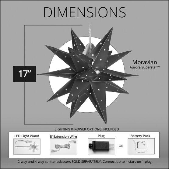 "17"" Silver Aurora Superstar TM Moravian Star Lantern, Fold-Flat, LED Lights, Outdoor Rated"