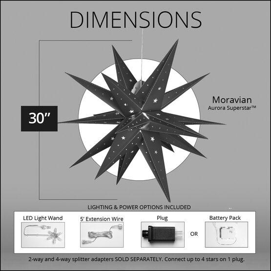 "30"" Silver Aurora Superstar TM Folding Star Lantern, Fold-Flat, LED Lights"