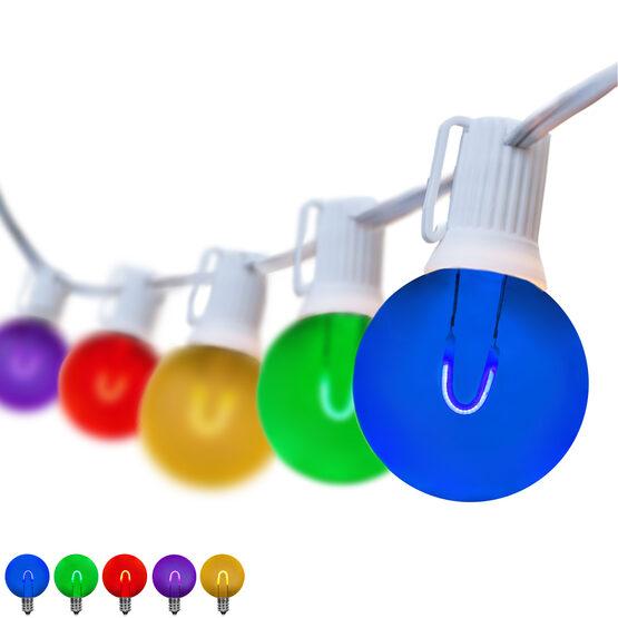 25' Patio String Light Set, 25 Multicolor G50 FlexFilament LED Shatterproof Bulbs, White Wire