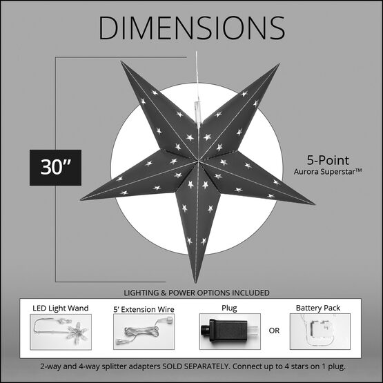 "30"" Silver Aurora Superstar TM 5 Point Star Lantern, Fold-Flat, LED Lights"