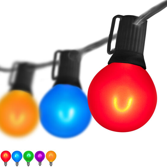10' Patio String Light Set, 10 Multicolor G50 FlexFilament LED Satin Glass Bulbs, Black Wire