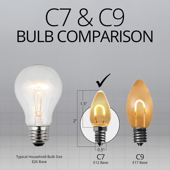 C7 Shatterproof FlexFilament Vintage LED Light Bulb, Warm White
