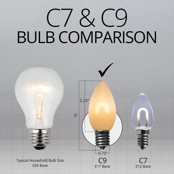 C9 FlexFilament TM Vintage LED Light Bulb, Warm White Satin Glass