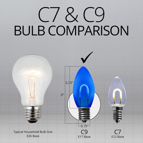 C9 Shatterproof FlexFilament Vintage LED Light Bulb, Blue