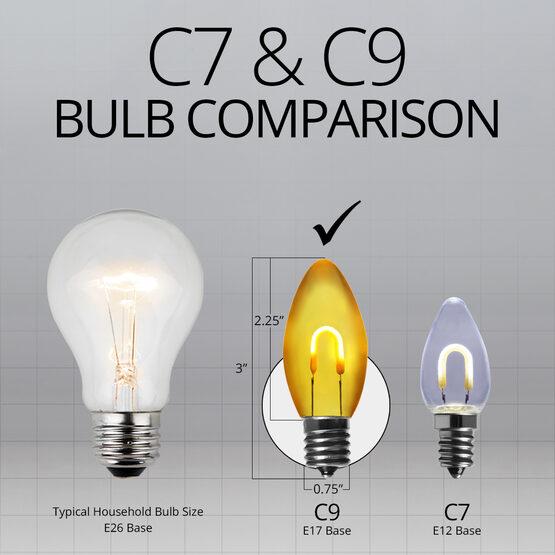 C9 FlexFilament TM Vintage LED Light Bulb, Gold Transparent Glass