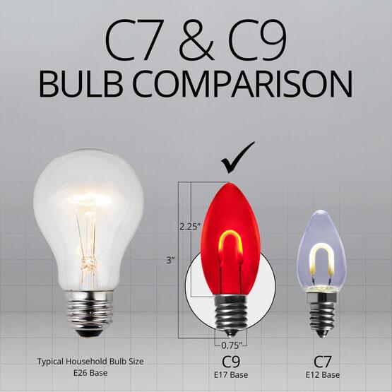 C9 Shatterproof FlexFilament Vintage LED Light Bulb, Red
