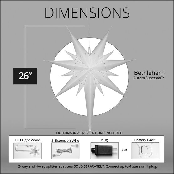 "26"" White Aurora Superstar TM Bethlehem Star Lantern, Fold-Flat, LED Lights"