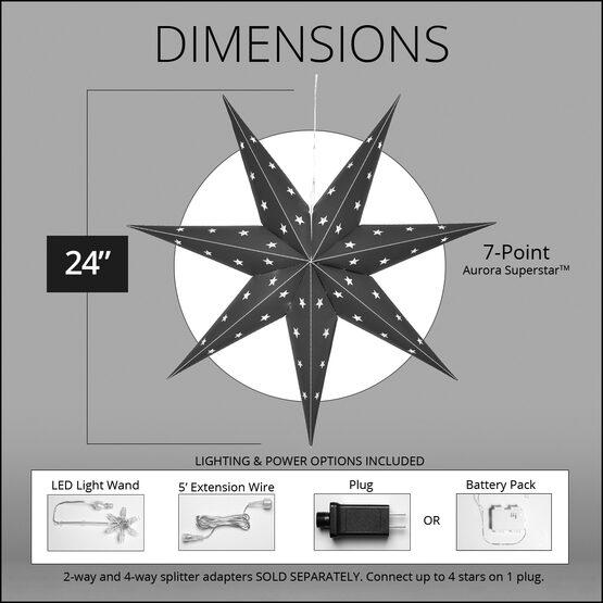 "24"" Red Aurora Superstar TM 7 Point Star Lantern, Fold-Flat, LED Lights"