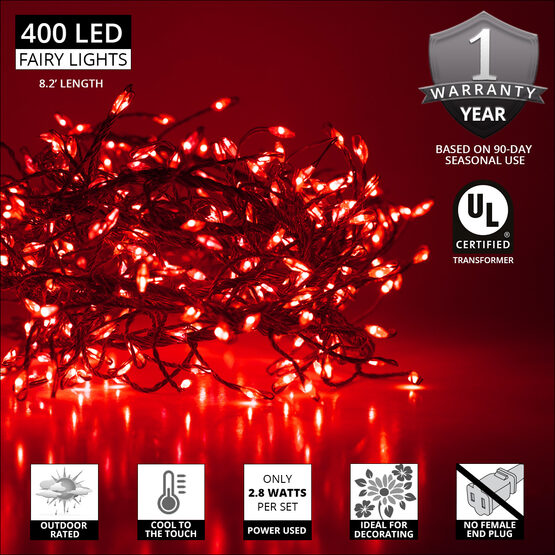 Red LED Outdoor Fairy String Lights, Silver Wire