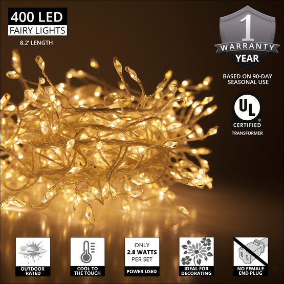 Warm White LED Outdoor Fairy String Lights, Silver Wire