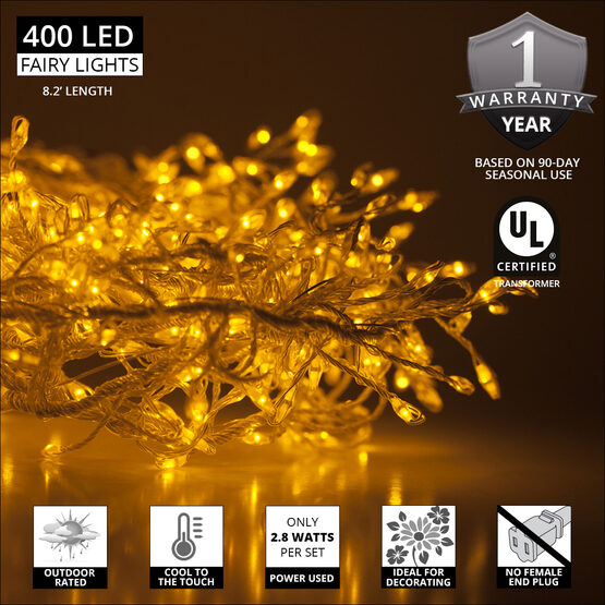 Gold LED Outdoor Fairy String Lights, Gold Wire