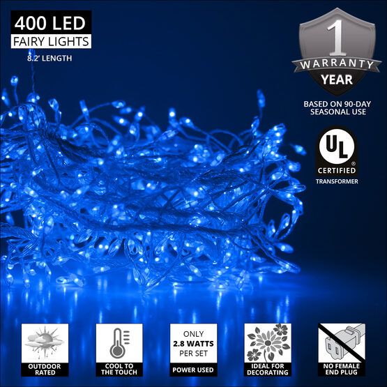 Blue LED Outdoor Fairy String Lights, Silver Wire