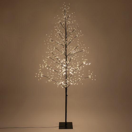 7' Black Fairy Light Tree, Warm White LED Lights