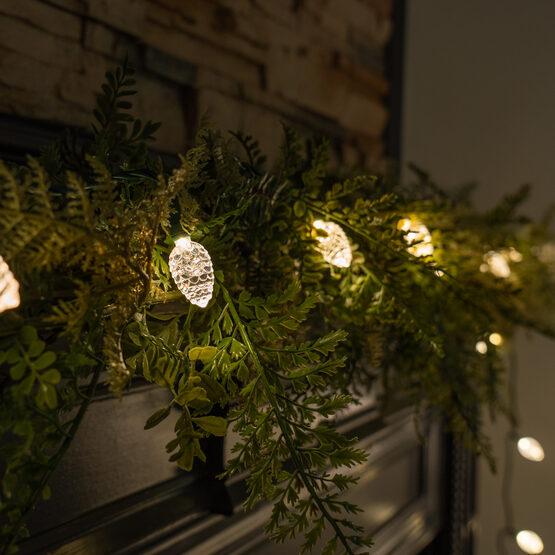 "25 Warm White Pinecone LED Lights, 8"" Spacing"