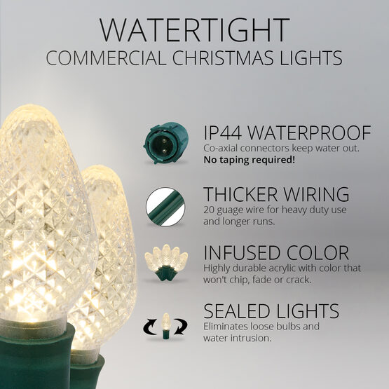 C7 Commercial LED String Lights, Warm White Twinkle, Green Wire