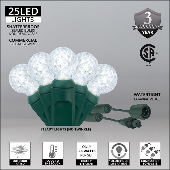 G12 Commercial LED String Lights, Cool White, Green Wire