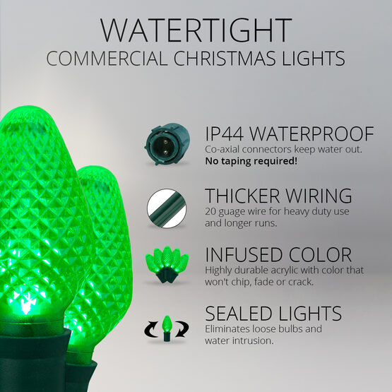 C7 Commercial LED String Lights, Green, Green Wire