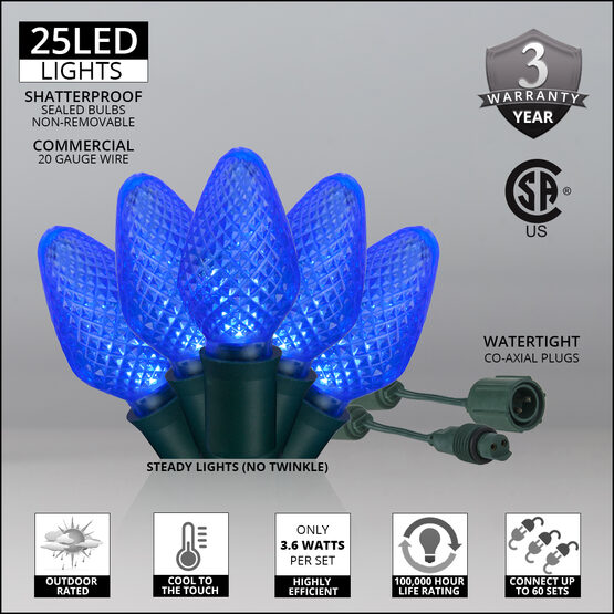 C7 Commercial LED String Lights, Blue, Green Wire