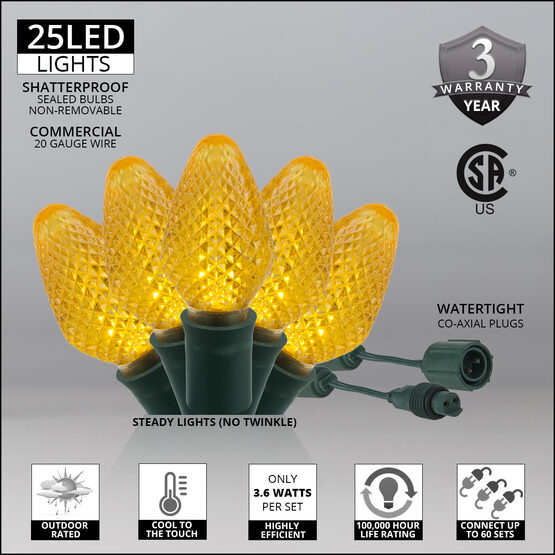 C7 Commercial LED String Lights, Gold, Green Wire