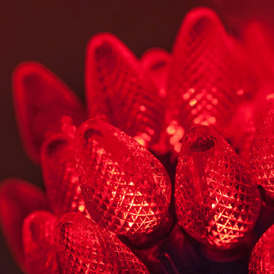 C7 Commercial LED String Lights, Red, Green Wire